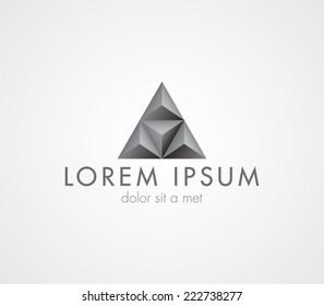Logo template pyramid, triangular, elegant design, fashion, tech, brand, branding, corporate, identity, logotype. Clean and modern style