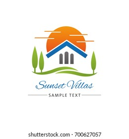 Logo template for real estate, retirement home or travel industry with villa and park in sunset