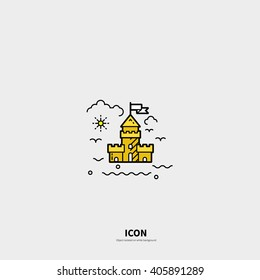 Logo template sand castle. Isolated on background and easy to use. The perfect logo for Your business. Clean and minimalistic character. The concept of the ocean.