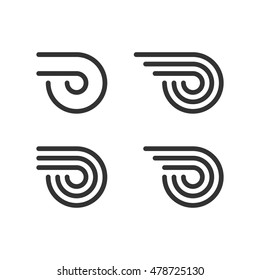 Logo Template Set. Wheel With Fire Or Wings. Line Style Logotype. Vector