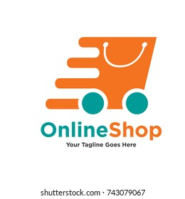 Logo template - shopping. The logo includes a bag on wheels symbolizing quick buy
