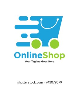 Logo template - shopping. The logo includes a Express bag on wheels symbolizing quick buy