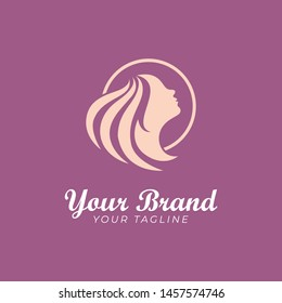 logo template of silhouette woman in a circle shape