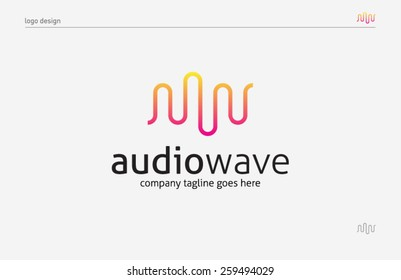 Logo template sound wave, music, dj, audio system, store. Brand, branding, company, corporate, identity, logotype. Clean and modern style design