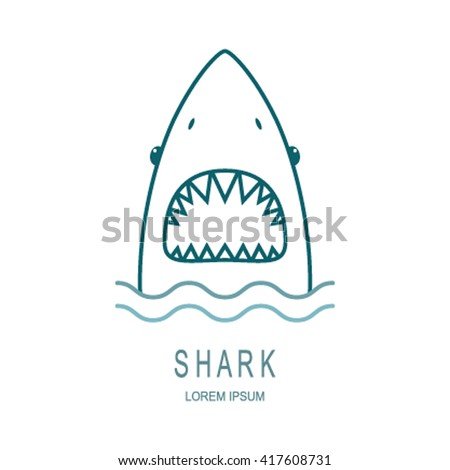 logo template style line shark open のベクター画像素材
