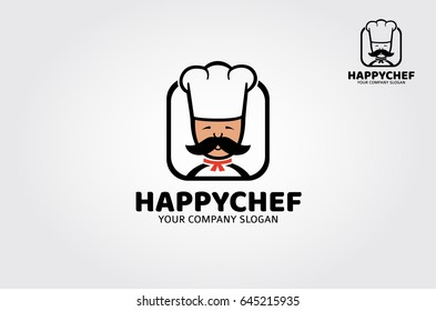 Logo template suitable for businesses and product names. Logo of a stylized chef with chef hats  and big mustache.