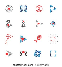 Logo Template Vector Red and Blue Icons Set Technology abstract signs for business identity design