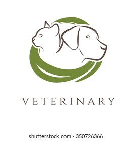 Logo template for veterinary clinic with cat and dog.Vector