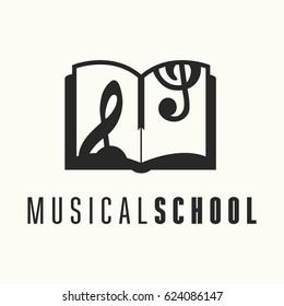 Logo template for vocal or music school. Vector illustration on white background. Treble clef stylized logo, illustration. Book emblem.