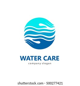 Logo template water care. Sign for cleaning pipes and sewage systems, water filters