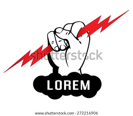 logo template zeus arm hand holding stock vector royalty free
