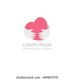 Logo template-heart in hand. Hugs hands heart logo