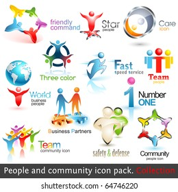 Logo Templates. Business People Community 3d Icons. Vector Design elements. Set of Business Teamwork Symbols. Round Shape. Global Brand. Care, Guard, Running, Fast, Puzzle Symbol. People Silhouette.