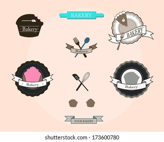 Logo templates and graphic elements for bakery business unsung traditional symbols