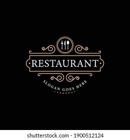 Logo Templates with Monogrammed Elements and Flourish Ornaments for Restaurants, Clubs, Boutiques, Cafes, Hotel Cards. Vector illustration