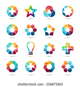 Logo templates set. Abstract circle creative signs and symbols. Circles, plus signs, stars, triangle, hexagons, bulb and other design round geometric elements.