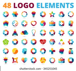 Logo templates set. Abstract circle creative signs and symbols. Circles, medical plus signs, idea bulb, rocket, flower, heart shape, case, stars, triangle, human head. Design infographic elements.