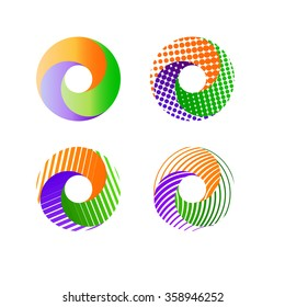 Logo templates set. Abstract circle creative signs and symbols. Circles,lines, waves and other design elements.