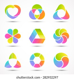 Logo templates set. Modern vector abstract circle creative sign or symbol. Design geometric elements bundle