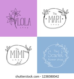 Logo templates for women's boutiques and flower shops