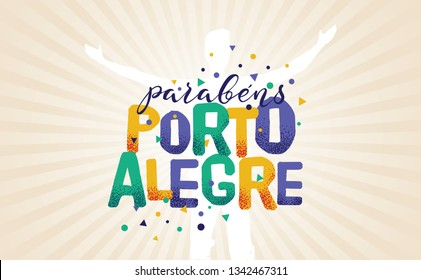 Logo With Text in Brazilian Portuguese Saying Happy Anniversary Porto Alegre, Brazilian City Name, Festive Layout, Celebration Vector Banner, Lettering with City Name from Brazil
