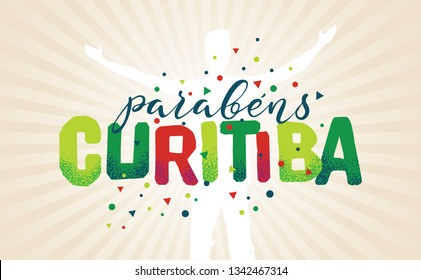 Logo With Text in Brazilian Portuguese Saying Happy Anniversary Curitiba, Brazilian City Name, Festive Layout, Celebration Vector Banner, Lettering with City Name from Brazil