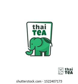 Logo of Thai tea with elephant shape in a cup or square line art, Elephant tea logo