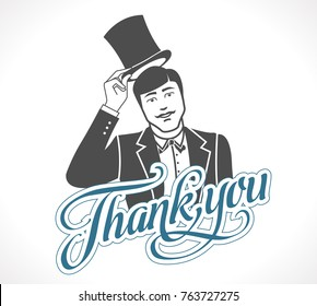 Logo - thank you concept sign - Man taking off his hat - icon