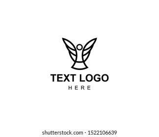 A logo that symbolizes goodness like an angel, and this logo is suitable for religion, non-profit community or industry, this logo is a flying angel icon made with modern and clean