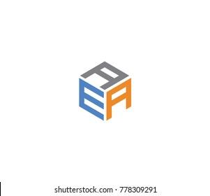 Logo with three letters AEA. hexagon logo