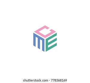 Logo with three letters CME. hexagon logo