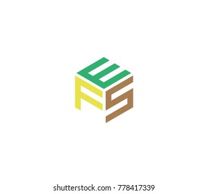 Logo with three letters EFS. hexagon logo