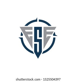 logo with three letters ESE. ESE initial logo design, Fully Editable Vector EPS.