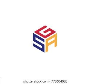 Logo with three letters GSA, hexagon logo