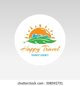 logo tourism agency sun sea label vector