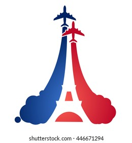 Logo as a tourist flying aircraft, with a silhouette of the Eiffel tower and the symbolism of the French flag. Symbols and air travel in France. Bastille Day.