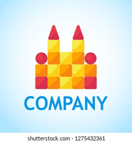 Logo for Toy Shop. Toy castle of cubes - Vector design illustration in flat style. Colorful bright Store emblem layout with brand name, caption.