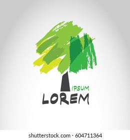 Logo of tree with abstract brush paint foliage
