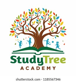 Logo Tree in the book with children playing