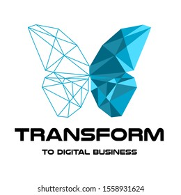 Logo. Triangle butterfly. Transform to digital business. Vector