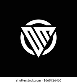 Logo with triangle shape and circle rounded design template isolated on black background