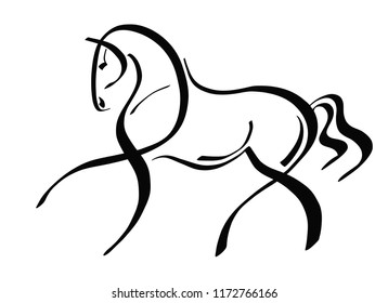 A logo of a trotting horse.