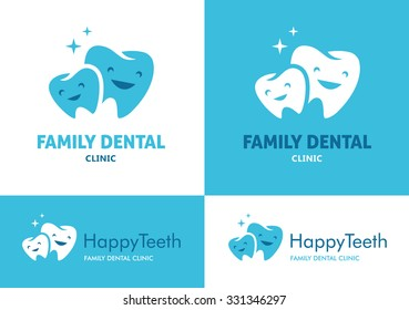 Logo with two big and small teeth with cute faces for family dental clinic on white and blue backgrounds