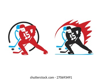 logo with two hockey players, leading puck