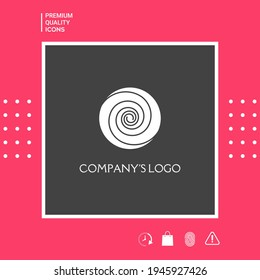 Logo - two thin spirals in a circle - a flower bud