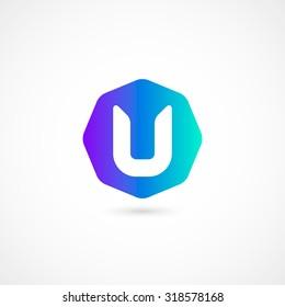 Logo U letter. Isolated on white background. Vector illustration, eps 10.