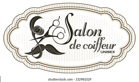 Logo for unisex hairdressing shop. With a lock of hair, mustache and professional scissors. To sign or business card