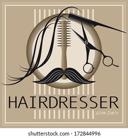 Logo for unisex hairdressing shop. With a lock of hair, mustache, brush comb and professional scissors.  Compounds to create a face. To sign or business card