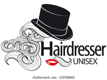 Logo for unisex hairdressing shop. Top Hat. Bunches of curls. Lips. Half mustache. To sign or business card.