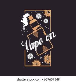 Logo vape on with smoke and fruit.